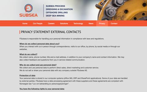 Screenshot of Privacy Page fsubsea.com - Fuglesangs Subsea AS  » Privacy Statement External Contacts - captured Oct. 11, 2018