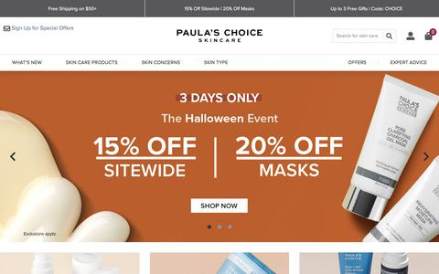 Screenshot of Home Page paulaschoice.com - Shop Paula's Choice - captured Oct. 31, 2019