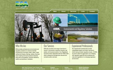 Screenshot of Home Page webesa.com - ESA Consulting - Environmental Solutions for the Oil and Gas Industry - captured Oct. 1, 2014