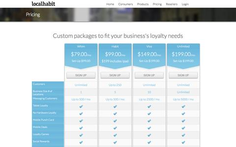 Screenshot of Pricing Page localhabit.com - LocalHabit- Shop, Save & Get Rewarded - captured Oct. 3, 2014