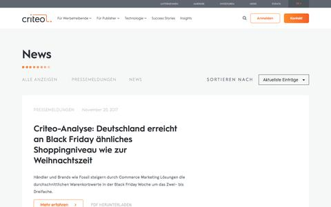 Screenshot of Press Page criteo.com - Vibrant Future: Insights und Analysen zum Commerce Marketing - captured May 15, 2018