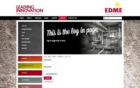 Screenshot of Login Page edme.com - Log In - EDME - captured Oct. 1, 2014