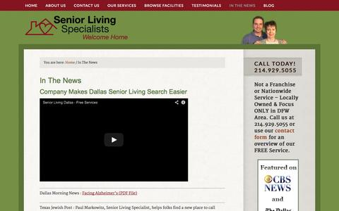 Screenshot of Press Page seniorlivingspecialists.com - Find Senior Living Specialists In the News - Assisted Living Help Dallas - captured Oct. 9, 2014