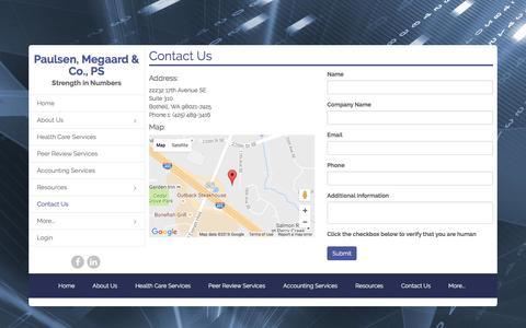 Screenshot of Contact Page paulsenmegaard.com - Contact Us - Paulsen, Megaard & Co., PS - captured Oct. 25, 2016