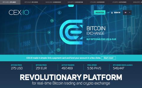 Screenshot of Home Page cex.io - Bitcoin Exchange, Trading BTC USD, BTC EUR - CEX.IO - captured Oct. 23, 2015