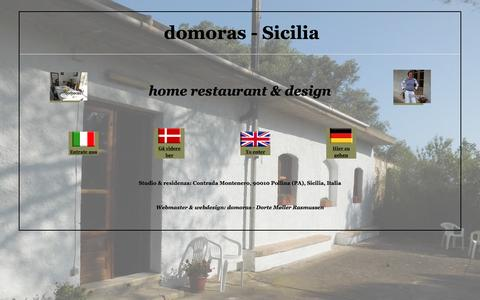 Screenshot of Home Page domoras.com - Pollina - Castelbuono Sicilia - design - knitwear - maglioni - håndstrik - Strickwaren - home restaurant - domoras - captured Aug. 2, 2016