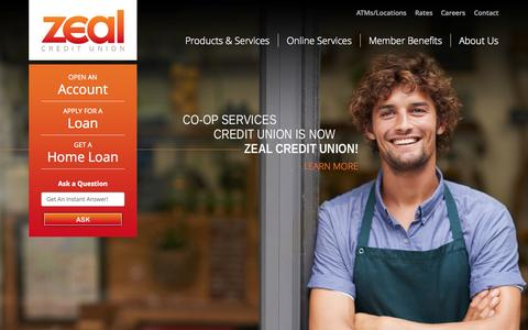 Screenshot of Home Page cscu.org - Zeal Credit Union - captured Oct. 2, 2014