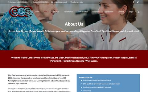 Screenshot of About Page elitecare.co.uk - About Elite Care | Nursing & Care Staff Supplier - captured Jan. 27, 2016