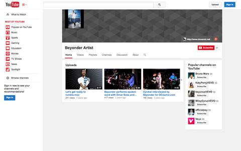 Screenshot of YouTube Page youtube.com - Beyonder Artist  - YouTube - captured Oct. 26, 2014