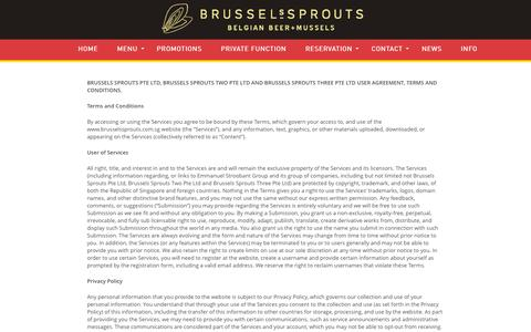 Screenshot of Terms Page brusselssprouts.com.sg - Terms & Conditions - BRUSSELs SPROUTSBRUSSELs SPROUTS - captured Feb. 8, 2016