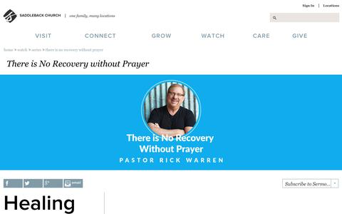 Screenshot of saddleback.com - Saddleback Church: Series: There is No Recovery without Prayer - captured Aug. 13, 2017