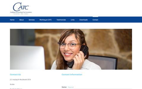 Screenshot of Contact Page catcaruba.com - Contact   Caribbean Accounting & Tax Consultants - captured Sept. 27, 2018