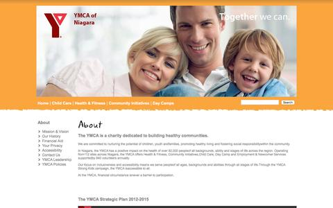 Screenshot of About Page ymcaofniagara.org - YMCA of Niagara  - About - captured Jan. 4, 2017