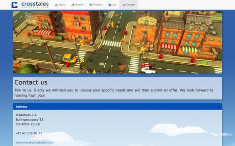 Screenshot of Contact Page crosstales.com - Contact - Your partner for video games and interactive solutions | crosstales - captured Oct. 28, 2014
