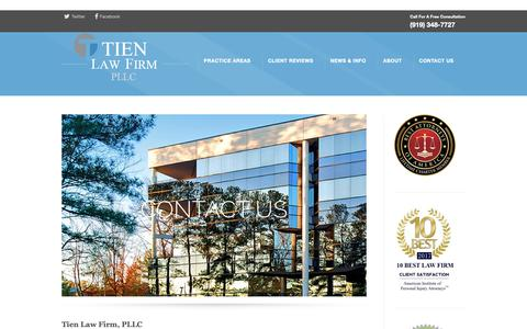 Screenshot of Contact Page tienfirm.com - Contact Us | Top 10 Injury Attorney Under 40  | Tien Law Firm - captured Nov. 16, 2018