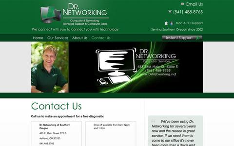 Screenshot of Contact Page drnetworking.net - Dr. Networking: Contact Us | Computer Repair in Ashland, OR | Wireless Networking | Virus Removal | Printer Repair - captured Sept. 30, 2014