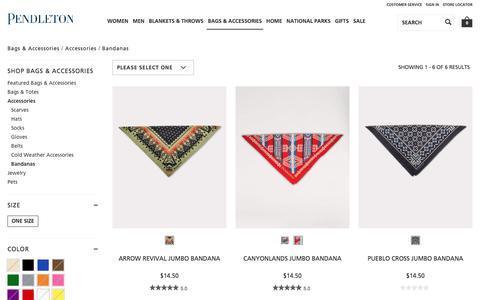Screenshot of pendleton-usa.com - Bandanas | Bags & Accessories Accessories | Pendleton - captured Jan. 8, 2018