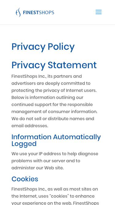 Screenshot of About Page Privacy Page  finestshops.com - Privacy Policy - FinestShops - E-commerce optimization and management for Magento, X-Cart and WooCommerce Shopping Carts