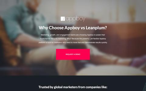 Screenshot of Landing Page appboy.com - Appboy vs. Leanplum | Appboy - captured Feb. 24, 2017