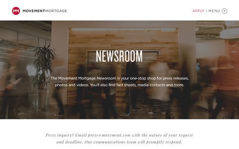 Screenshot of Press Page movement.com - Press - Movement Mortgage - captured April 10, 2018