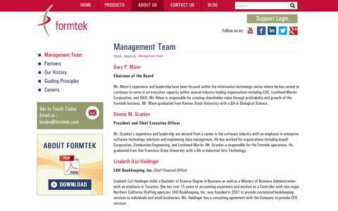 Screenshot of Team Page formtek.com - The Leaders at Formtek | Formtek Management Team | formtek - captured July 13, 2018