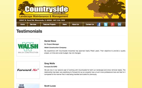 Screenshot of Testimonials Page countrysideindustries.com - Testimonials | What Our Clients Said About Us | Chicago (847) 526-1909 - captured Oct. 3, 2014