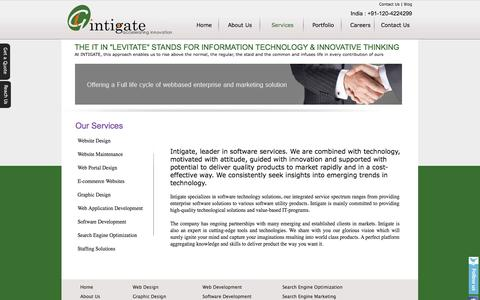 Screenshot of Services Page intigate.co.in - Website Development Service India | SEO, Web Design Services Noida - captured Sept. 30, 2014
