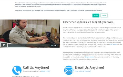 Screenshot of Support Page emscorporate.com - Customer Support & Service | Electronic Merchant Systems - captured Aug. 24, 2019