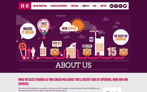 Screenshot of About Page headred.net - About HeadRed Media, Coventry based Design & Digital Agency - captured Sept. 22, 2014
