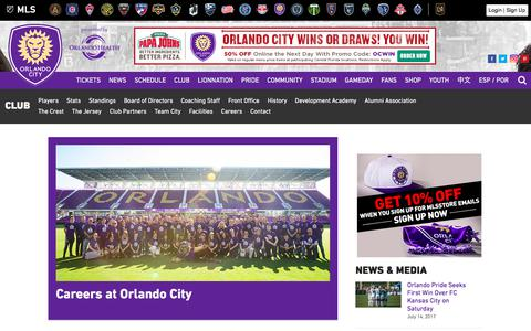 Screenshot of Jobs Page orlandocitysc.com - Careers | Orlando City Soccer Club - captured July 14, 2017