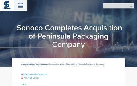 Screenshot of Press Page sonoco.com - Sonoco Completes Acquisition of Peninsula Packaging Company | Sonoco - captured Nov. 5, 2019