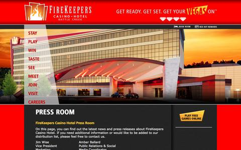 Screenshot of Press Page firekeeperscasino.com - Press Room  | FireKeepers Casino Hotel - captured Oct. 13, 2017