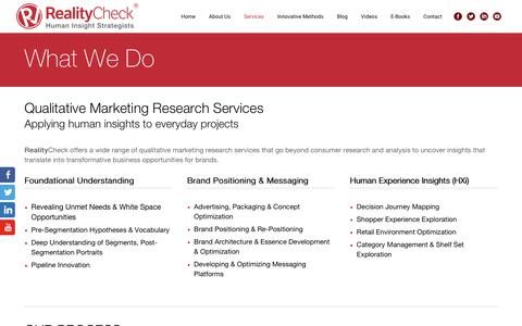 Screenshot of Services Page realitycheckinc.com - Qualitative Consumer Marketing Research Services - captured Oct. 19, 2018