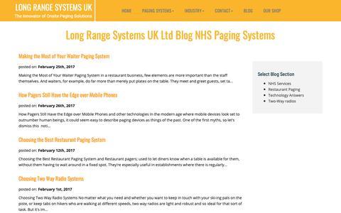 Screenshot of Blog lrspagers.co.uk - Long Range Systems UK Ltd Blog. - captured Dec. 16, 2018