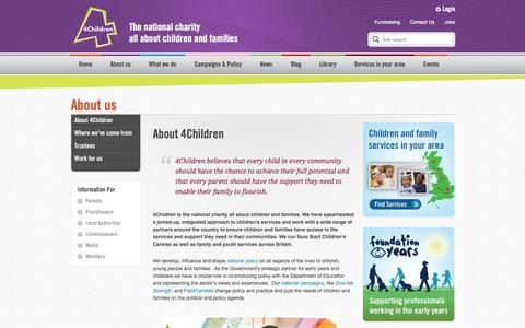 Screenshot of About Page 4children.org.uk - About 4Children - captured Oct. 7, 2014