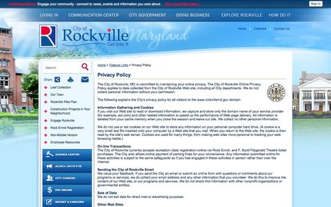 Screenshot of Privacy Page rockvillemd.gov - Rockville, MD - Official Website - Privacy Policy - captured Oct. 30, 2014