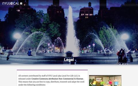 Screenshot of Terms Page nyulocal.com - Legal - NYU Local : NYU Local - captured Jan. 12, 2016