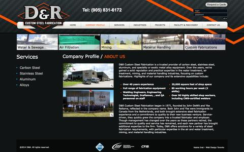 Screenshot of About Page drsteelfab.com - D&R Custom Steel Fabricaion - captured Oct. 3, 2014