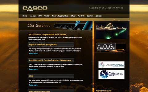Screenshot of Services Page casco.aero - Casco - captured Oct. 1, 2014