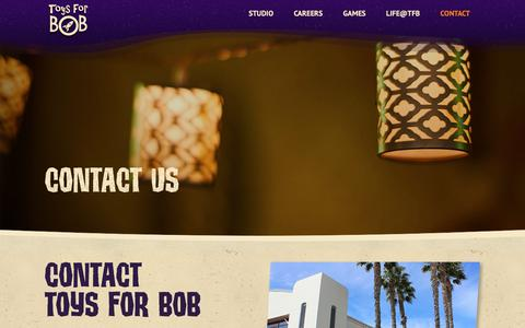 Screenshot of Contact Page toysforbob.com - Toys For Bob | Contact - captured Oct. 20, 2018
