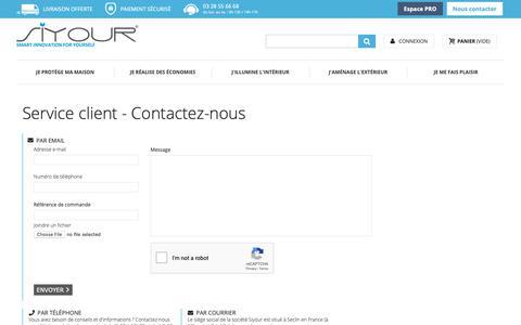 Screenshot of Contact Page siyour.com - Nous contacter - Siyour - captured Oct. 20, 2018