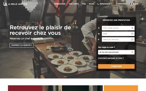 Screenshot of Home Page labelleassiette.fr - Réservez un chef à domicile - La Belle Assiette - captured July 17, 2015