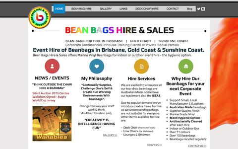 Screenshot of Home Page beanbagshire.com.au - Bean Bags Hire | Brisbane | Gold Coast | Event Hire | Chairs - captured Oct. 10, 2017