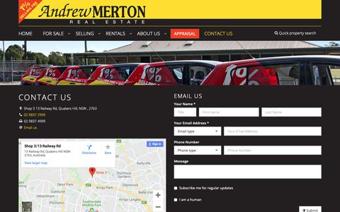 Screenshot of Contact Page andrewmerton.com.au - Andrew Merton Real Estate - Contact - captured Oct. 3, 2018