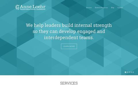 Screenshot of Home Page anneloehr.com - Transformational Leadership Keynotes, Workshops | Anne Loehr - captured Sept. 30, 2014