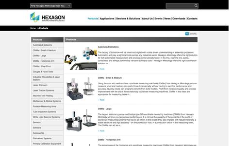 Screenshot of Products Page hexagonmetrology.co.uk - Products | Hexagon Metrology - UK & Ireland - captured Jan. 23, 2016