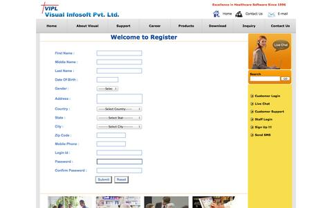 Screenshot of Signup Page visualinfosoft.com - Visual Infosoft Pvt. Ltd. Ahmedabad - captured Oct. 7, 2014