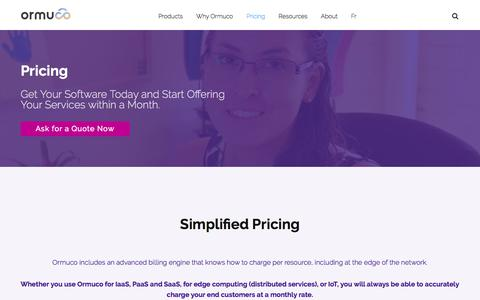 Screenshot of Pricing Page ormuco.com - Ormuco Pricing - Get It Today & Start Providing Services within a Month - captured Jan. 8, 2020