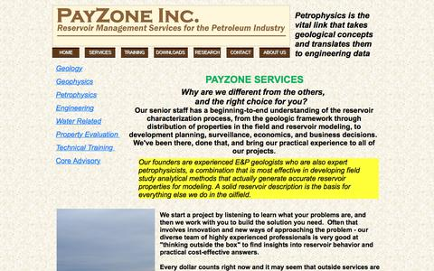 Screenshot of Services Page payzoneinc.com - Services - captured July 12, 2016