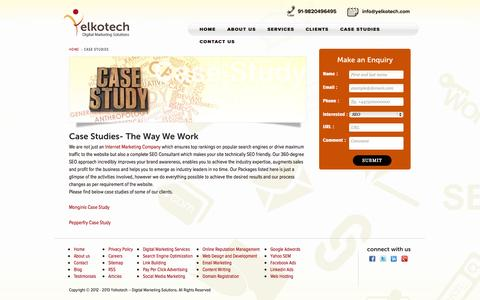 Screenshot of Case Studies Page yelkotech.com - Case Studies   Yelkotech - captured Sept. 19, 2014